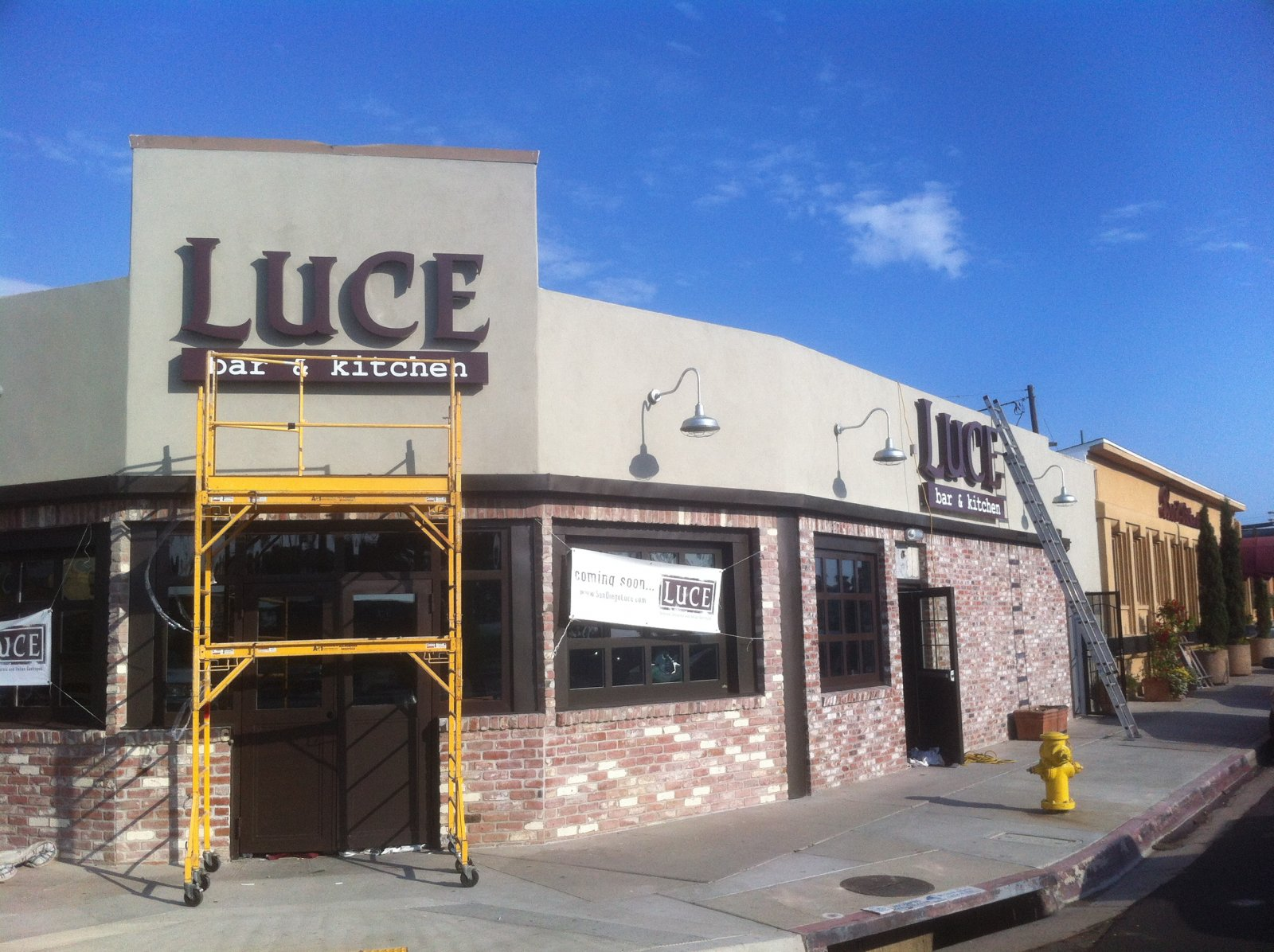 Luce bar kitchen san diego sign gallery west coast for Basement bar san diego