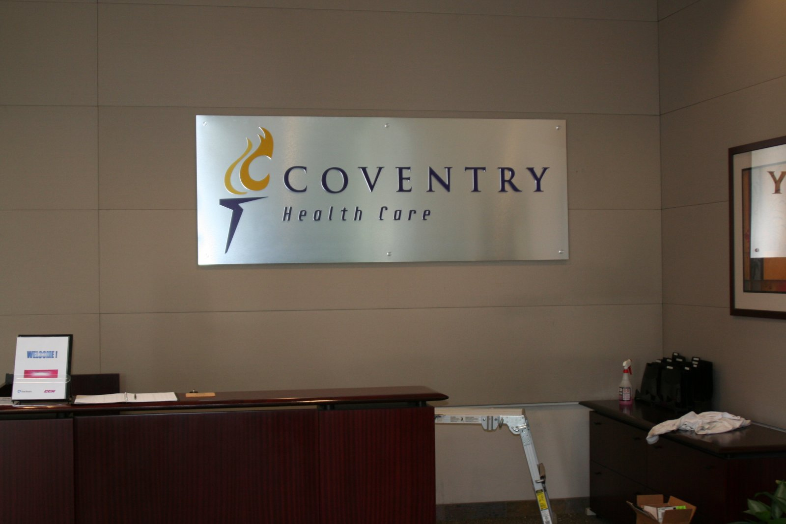 Coventry Health Care Lobby Sign - Scripps Ranch, San Diego
